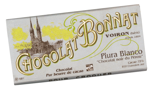 Image d'une tablette de chocolat Bonnat Grand Cru d'Exception 75% de cacao Piura Blanco dans son emballage gris.