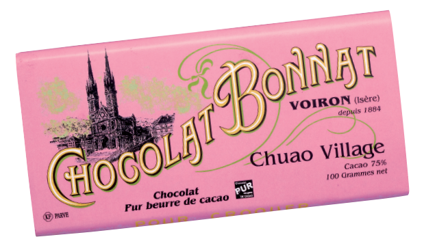 Image d'une tablette de chocolat Bonnat Grand Cru d'Exception 75% de cacao Chuao Village dans son emballage rose clair.