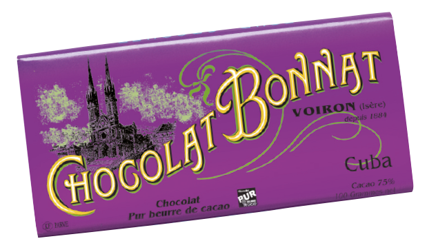 Image d'une tablette de chocolat Bonnat Grand Cru d'Exception 75% de cacao Cuba dans son emballage violet.