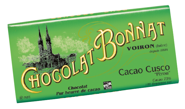 Image d'une tablette de chocolat Bonnat Grand Cru d'Exception 75% de cacao Cacao Cusco dans son emballage vert tendre.