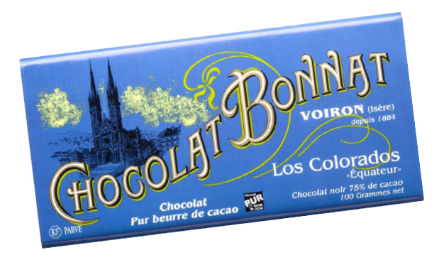 Image d'une tablette de chocolat Bonnat Grand Cru d'Exception 75% de cacao Los Colorados « Equateur » dans son emballage bleu vif.
