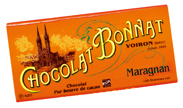 Image d'une tablette de chocolat Bonnat Grand Cru d'Exception 75% de cacao Maragnan dans son emballage orangé vif.