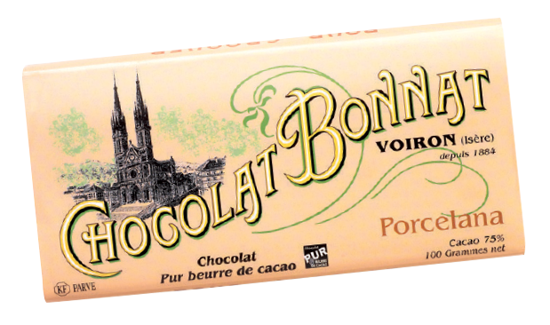 Image d'une tablette de chocolat Bonnat Grand Cru d'Exception 75% de cacao Porcelana, dans son emballage beige rosé.